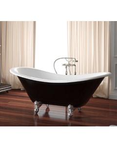 Yoki - Traditional Double High Back 1805mm Freestanding Clawfoot Bath WHITE OR IVORY INTERNAL, WHITE, IVORY, BURGUNDY, BLACK, GREEN, EXTERNAL