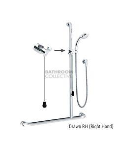 Conserv - Kit 21 Independent/Hosefab 1170x1100mm Right Hand Grab Rail Shower System CHROME