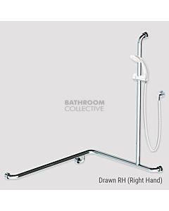 Conserv - Kit 13 Commercial 760x1000x1100mm Right Hand Grab Rail Shower System WHITE SATIN