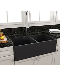 Paco Jaanson - Bocchi Casa Ceramic Kitchen Double Bowl Butler Sink 850mm MATT ANTHRACITE