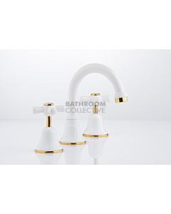 Faucet Strommen - Cascade Basin Set Cross, Jumper Valve WHITE + GOLD 30001-32