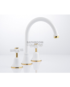 Faucet Strommen - Cascade Sink Set Cross, Vanitee, Jumper Valve WHITE + GOLD 30181-32