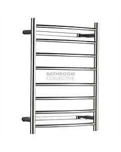 Hotwire Heating - Curved 8 Bar Round Heated Towel Rail 700H x 530W x 140D