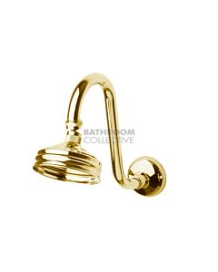 Bastow Tapware - Federation Fixed Gooseneck Shower Arm & 100mm Shower Rose BRASS GOLD