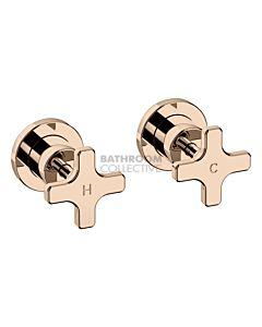 Faucet Strommen - Chisel D Wall Tap Pr, Cross, Jumper Valve POLISHED ROSE GOLD 31775-85