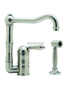 Nicolazzi - 3407WS Kitchen Sink Mixer with Off-set Traditional Swivel Spout & Handspray in Satin Chrome with El Capitan Handles