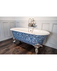 Chadder - Blenheim Double Ended Clawfoot Bath with Ocean Blue Pearl Mosaic Exterior 1740mm (Handmade in UK)