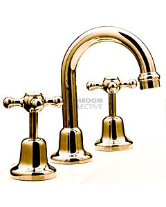 Bastow Tapware - Federation Basin Set Cross Handle Fixed Spout BRASS GOLD