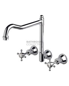 Bastow Tapware - Victorian Wall Mounted Sink Tap Set with English Spout, Cross Handles CHROME