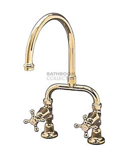 Bastow Tapware - Federation Exposed Sink / Spa Set with Cross Handles BRASS GOLD