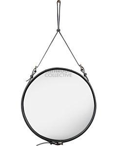 Gubi - Adnet Black Leather Circular Wall Mirror 58cm