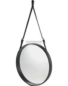 Gubi - Adnet Black Leather Circular Wall Mirror 70cm