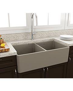 Paco Jaanson - Bocchi Casa Ceramic Kitchen Double Bowl Butler Sink 850mm MATTE CASHMERE