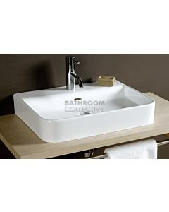 Paco Jaanson - Signature Aeri 550mm Ceramic Top Mounted Basin 1TH Gloss White