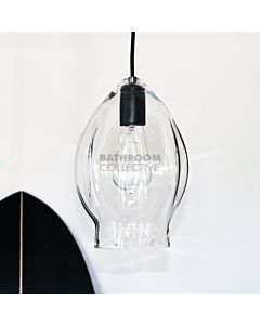 Soktas - Volt Medium Hand Blown Pendant Light, Clear Glass, Black Fitting