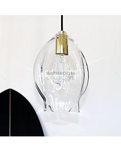 Soktas - Volt Medium Hand Blown Pendant Light, Clear Glass, Brass Fitting