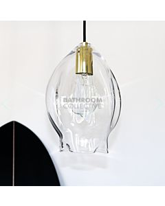 Soktas - Volt Large Hand Blown Pendant Light, Clear Glass, Brass Fitting