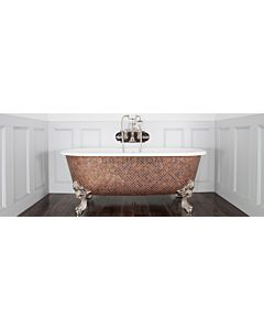 Chadder - Blenheim Double Ended Clawfoot Bath with Weathered Copper Mosaic Exterior 1740mm (Handmade in UK)
