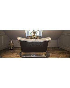 Chadder - Chariot Luxury Bath with Metal Plinth Primed Unpainted 1580mm (Handmade in UK)