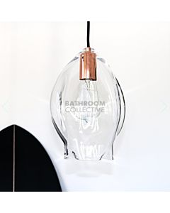 Soktas - Volt Large Hand Blown Pendant Light, Clear Glass, Copper Fitting