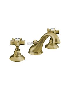 Nicolazzi - 1408 Wash Basin Tap Set with Swan Neck Spout and Pop Up Waste in Antique Gold with Dame Anglaises Handles