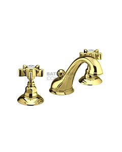 Nicolazzi - 1408 Wash Basin Tap Set with Swan Neck Spout and Pop Up Waste in Gold Brass with Dame Anglaises Handles