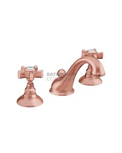 Nicolazzi - 1408 Wash Basin Tap Set with Swan Neck Spout and Pop Up Waste in Copper with Dame Anglaises Handles