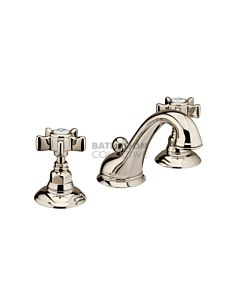 Nicolazzi - 1408 Wash Basin Tap Set with Swan Neck Spout and Pop Up Waste in English Gold with Dame Anglaises Handles