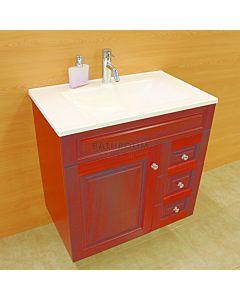 Showerama - Executive Wall Hung Australian Made Custom Timber Vanity 760 x 470mm, 1 Door 3 Drawers Polymarble Top
