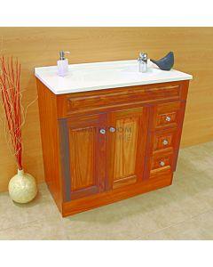 Showerama - Executive Australian Made Custom Narrow Timber Vanity 910 x 350mm, 2 Doors 3 Drawers Polymarble Top