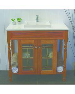 Showerama - Federation Custom Timber Vanity 1215 x 470mm, 2 Doors Caesarstone Top with Abovemount Basin