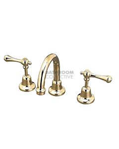 Bastow Tapware - Federation Basin Set Lever Handle Swivel Spout BRASS GOLD