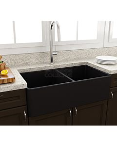 Paco Jaanson - Bocchi Casa Ceramic Kitchen Double Bowl Butler Sink 850mm MATTE BLACK