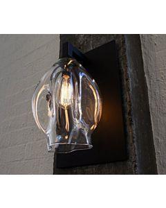 Soktas - Ion Hand Blown Wall Light Clear Glass with Matte Black Plate