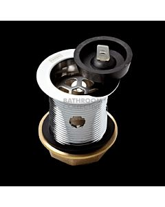 Harbic Brassware - 40mm Overflow Bath or Basin Waste with Rubber Plug & 80mm Tail
