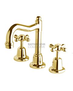 Bastow Tapware - Federation Basin Tap Set with Fixed English Spout, Cross Handle BRASS GOLD