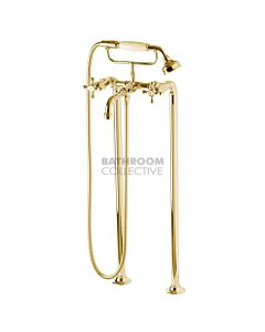 Bastow Tapware - Federation Exposed Freestanding Bath Set Cross Handle BRASS GOLD
