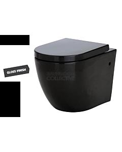 Fienza - Koko Floor Pan Toilet with R&T Inwall Cistern GLOSS BLACK (S Trap 110mm)