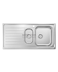 Abey - Euronox EUA125R Inset Right One & a Quarter Bowl Kitchen Sink with Drainer L1020 x W500mm