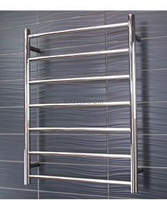 Radiant - Round 7 Bar Heated Towel Ladder 800H x 600W (left wiring) POLISHED STAINLESS