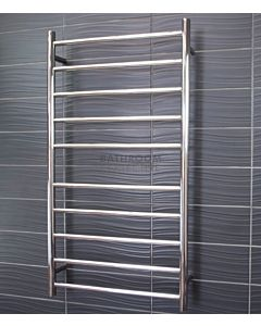 Radiant - Round 10 Bar Heated Towel Ladder 1100H x 600W (left wiring) POLISHED STAINLESS