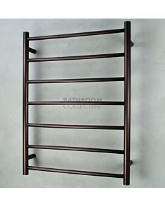 Radiant - Round 7 Bar Heated Towel Ladder 800H x 600W (left wiring) OIL RUBBED BRONZE STAINLESS