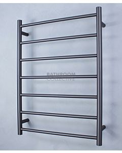 Radiant - Round 7 Bar Heated Towel Ladder 800H x 600W (right wiring) GUNMETAL GREY