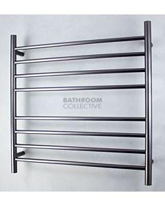 Radiant - Round 8 Bar Heated Towel Ladder 750H x 750W (right wiring) GUNMETAL GREY