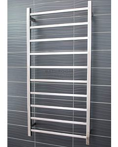 Radiant - Square 10 Bar Heated Towel Ladder 1200H x 600W (right wiring) POLISHED STAINLESS