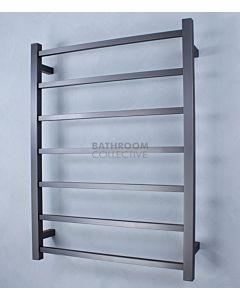 Radiant - Square 7 Bar Heated Towel Ladder 800H x 600W (left wiring) GUNMETAL GREY