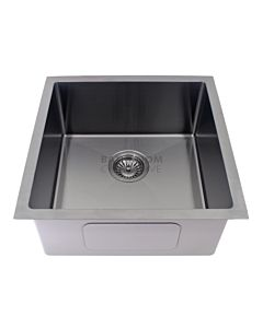 Modern - Taranto 450mm Gun Metal Finish Single Bowl Kitchen Sink, Round Corner Round Waste