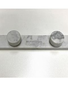 Wood Melbourne - Mila Round Cararra Marble Taps, One Piece Backplate