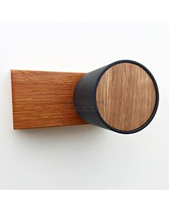 Wood Melbourne - Leo Round Blackbutt Timber Taps with Matte Black Sleeve, Two Piece Blackbutt Backplate (pair)