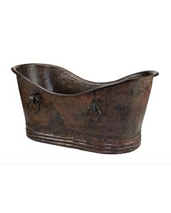 CopperCo - 1829mm Hammered Copper Double Slipper Bathtub With Rings